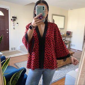 Ninety red vneck kimono blouse